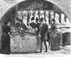 Exposición del ajuar de novia de la infanta Eulalia (1.864-1.950) , hija menor de Isabel II. La Ilustración española y americana. 1.886.