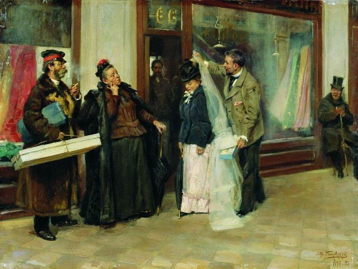 Vladimir Makovsky (1.846-1.920). The choice of wedding presents. 1.898.