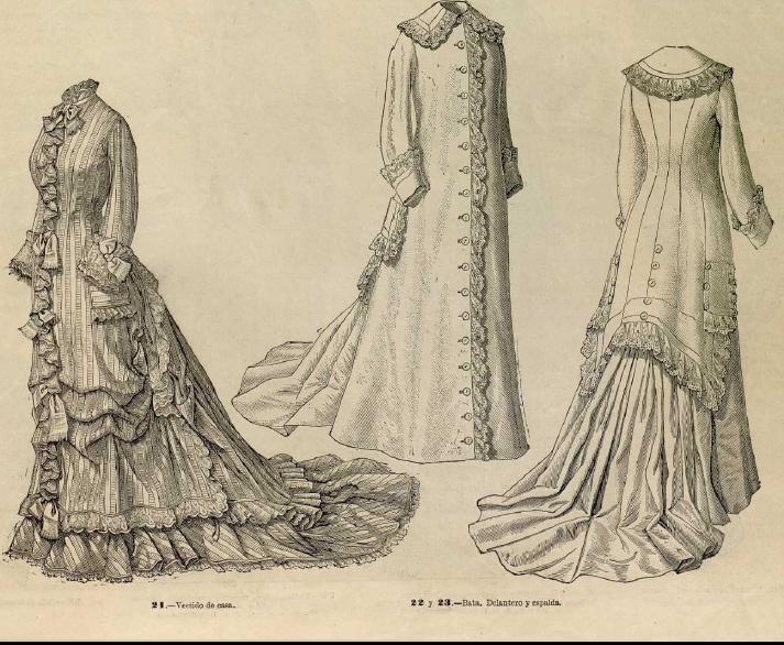 Traje de cas y bata de señora. La Moda elegante ilustrada. 1.878. Biblioteca Universitaria de la UGR. CC ES.