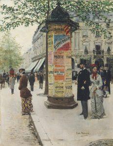Jean Béraud. Columna Morris en El señor y la señora Galin delante del Jockey Club. 1.877.