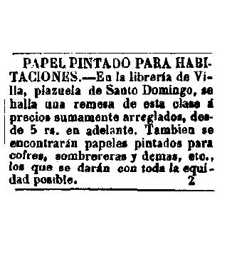 Anuncio de papel pintado para sombrereras. Diario Oficial de Avisos de Madrid. 6-7-1.847.