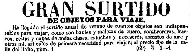 Anuncio de sombrereras. Diario oficial de avisos de Madrid. 27 5 1.857.