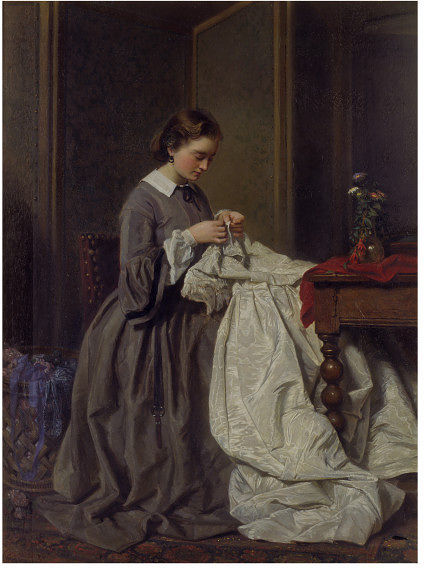 The Seamstress by Charles Baugniet,. (1.814-1.886) 1.858. V&A.
