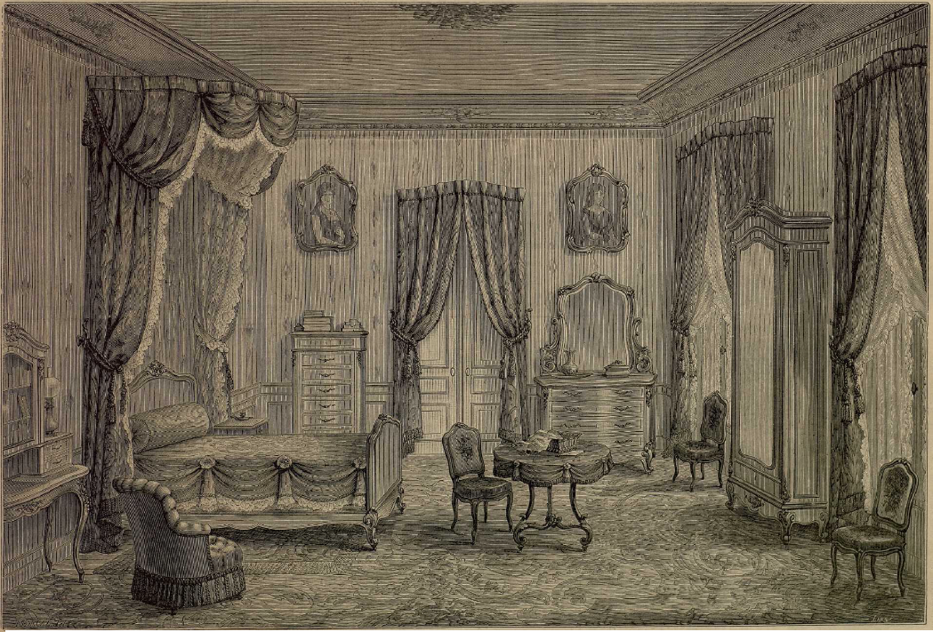 Dormitorio del último tercio del s. XIX. La Moda elegante ilustrada. 1.883. Biblioteca Universitaria de la UGR. CC ES.