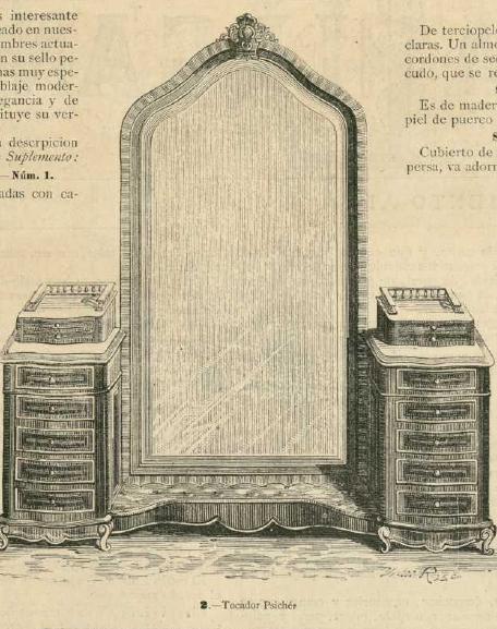 Tocador psichée. La Moda elegante ilustrada. 1.882 Biblioteca Universitaria de la UGR. CC ES.