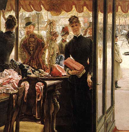 James Tissot (1.836-1.902). La Demoiselle de Magasin. ca. 1.883-1.885.