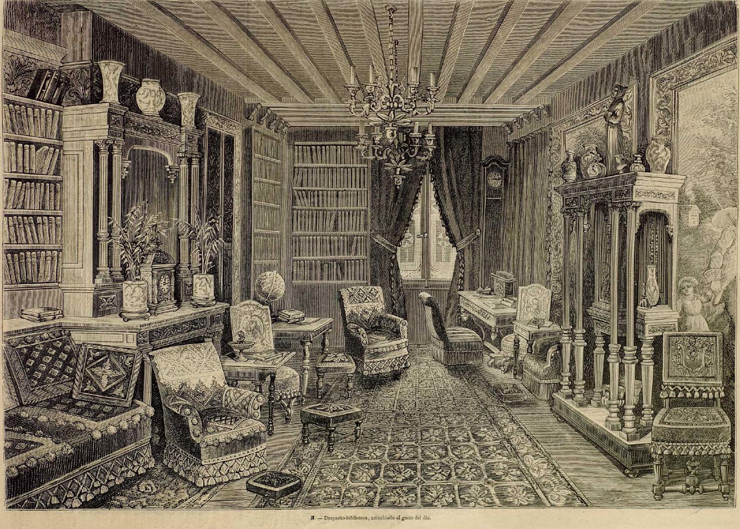 Modelo de despacho del último tercio del s. XIX. La Moda elegante ilustrada. 1.881. Biblioteca Universitaria de la UGR. CC ES.