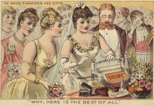 Escurridora de ropa. Una novia que está viendo los regalos de boda dice que es el mejor regalo de todos. última década del s. XIX  o comienzos del s. XX.