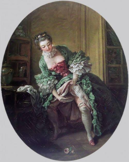 François Boucher (1703-1770): Dama utilizando un bourdaloue.