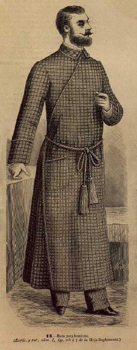 Bata de casa de caballero. La Moda elegante ilustrada. 1.883. Biblioteca Universitaria de la UGR. CC ES.