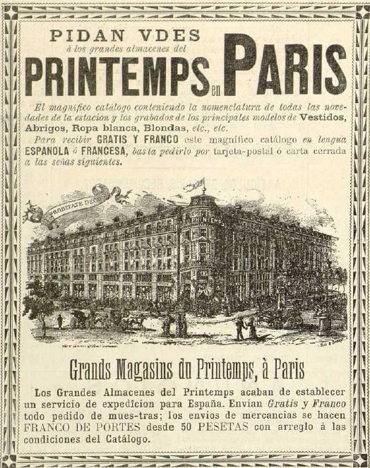 Este anuncio aparece en El Salón de la moda de 1891 y se encuentra en la Biblioteca Universitaria de la UGR. CC ES.