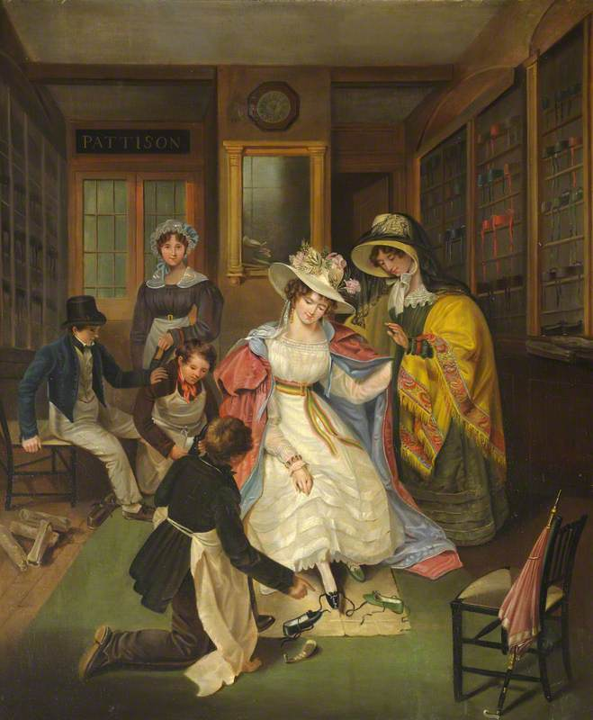 At the Shoemaker's Shop. Wimpole Hall Cambridges. Ca 1.825.. Pinterest.