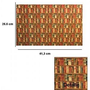 Los libros ya pintados ya en papel son un recurso muy utilizado en los trampantojos. Papel mural cortesía de www.tiendadecasitas.com©
