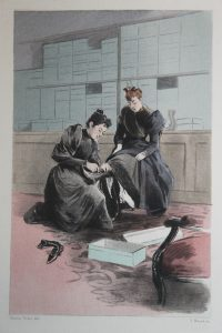 """Pierre Vidal (1.849-1.913). La zapatería. Grabado al agua fuerte extraído de """"La femme à París, nos contemporaines"""". 1.894."""