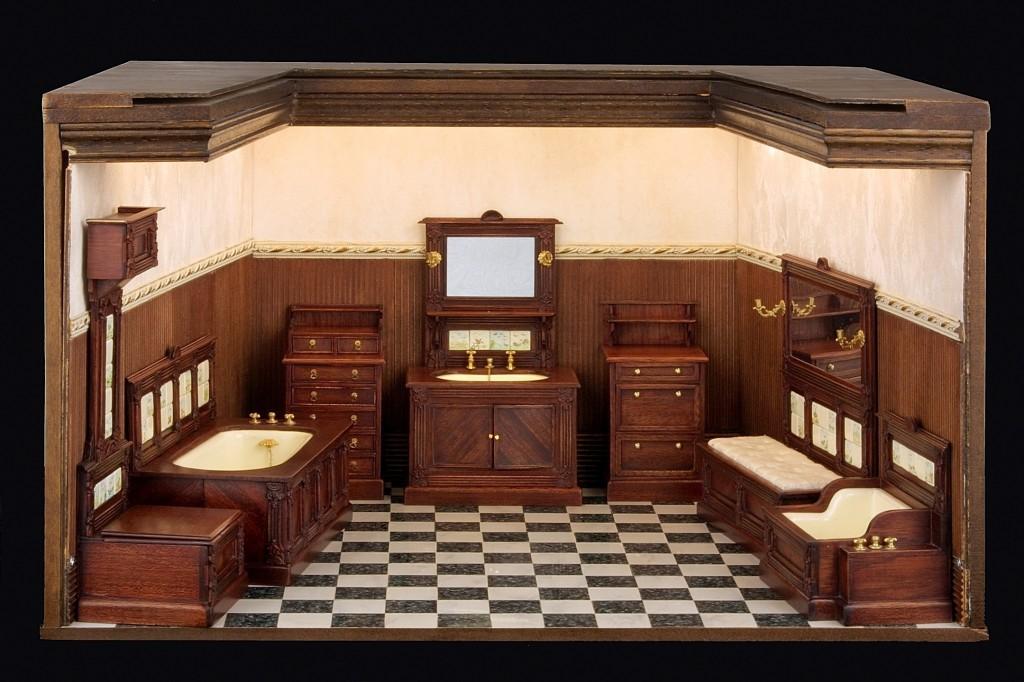 Cuarto de baño de una casa de la alta burguesía americana de finales del siglo XIX, realizado por Cristina Noriega. Foto cedida por la autora. Todos los derechos reservados ©