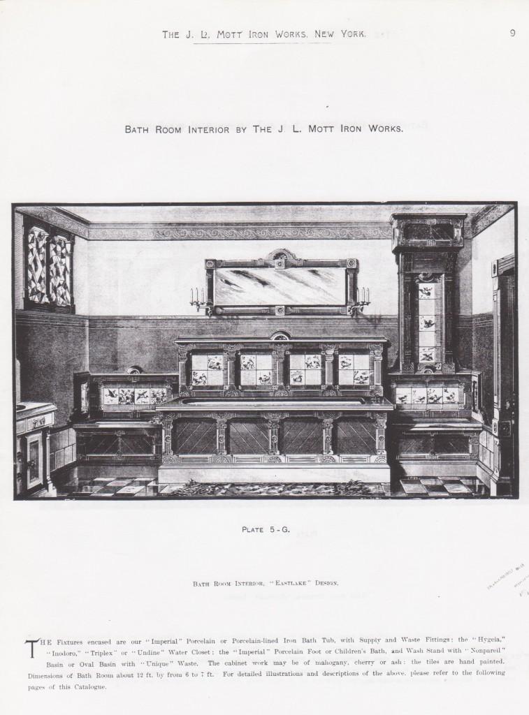 Modelo de cuarto de baño del Catálogo de J.L. Mott Iron Works, New York, reproducido por Cristina Noriega. Imagen cedida por la autora. Todos los derechos reservados ©
