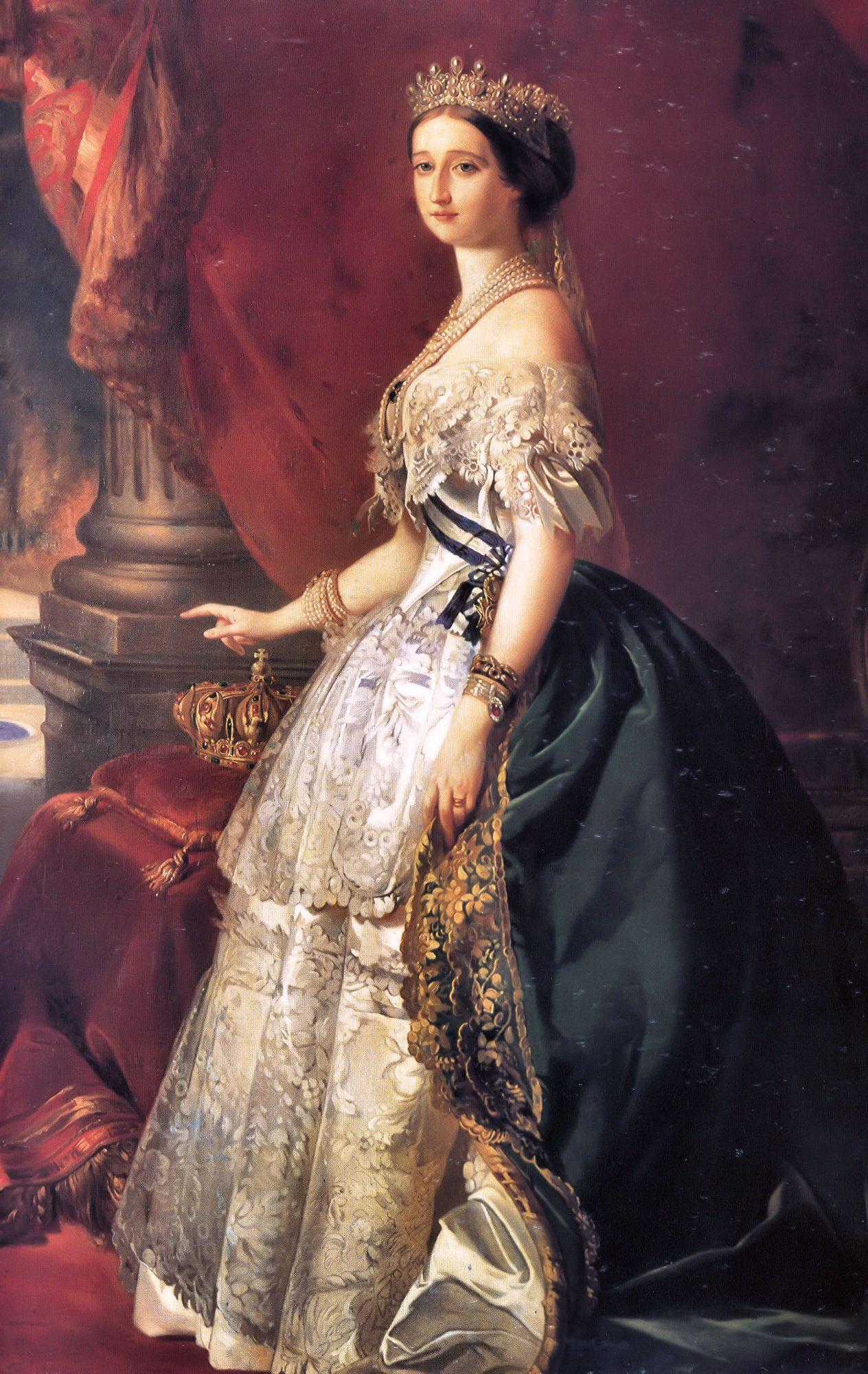 Emperatriz Eugenia de Francia con vestido de Worth y retratada por Winter.. Ca. 1853.