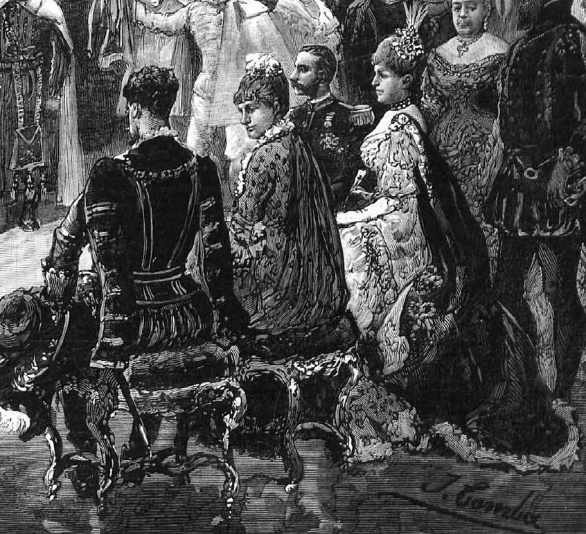 Detalle del grabado anterior. Obsérvese la meticulosidad con que han sido descritos los disfraces de Alfonso XII y María Cristina, la infanta Paz y el príncipe de Baviera. La Ilustración española y americana. 1.884.