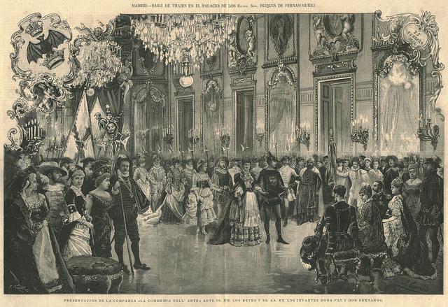 Baile de trajes en el Palacio de los Duques de Fernán-Núñez. Presentación de la Commedia dell'Arte ante los Reyes Alfonso XII y Mª Cristina. (Madrid) 1884.