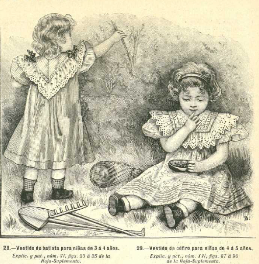 Niñas que ya no son vestidas como señoras en pequeño. La Moda elegante, 1.896. Biblioteca Universitaria de la UGR. CC ES.