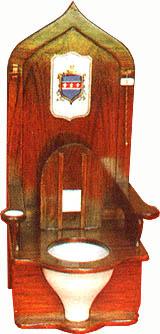 Réplica del trono de Luis XIII usada de inodoro. Sulabh International Museum of Toilets