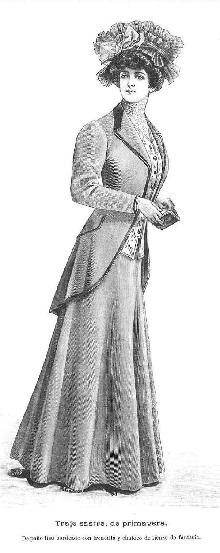 Traje sastre. La Moda elegante. 22 de marzo de 1.908.