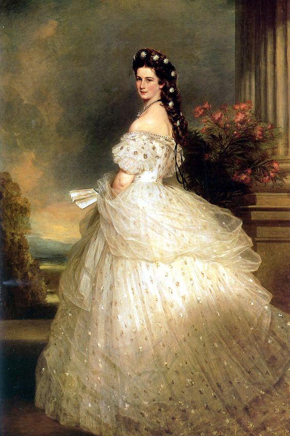 Isabel de Baviera, emperatriz de Austria y reina consorte de Hungría. Sissi. Vestida por Worth y pintada por Winterhalter en 1.865.