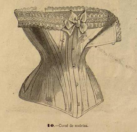 Corsé de nodriza. La Moda elegante ilustrada. 1.884. Biblioteca Universitaria de la UGR. CC ES.