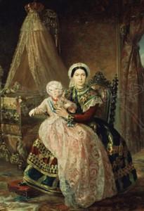 Alfonso XII con su nodriza Mª Dolores Marina. Pintura de Bernardo López Piquer, 1.858