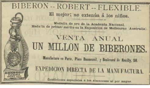 Anuncio que aparece en El Anuario del comercio, de la industria, de la magistratura y de la administración. 1884, página 2.601.