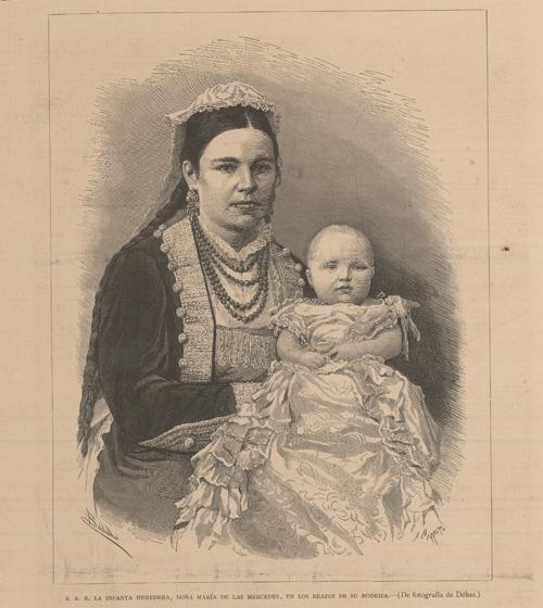 Infanta María de las Mercedes y su nodriza. Revista La Ilustración Española y Americana. 1.881. Fotografía de Débas.
