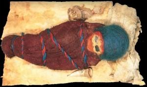 Momia de bebé en Urumqui. Obse´rtvese el biberón, primero que se conoce en la historia.