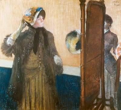 Edgar Degas, La sombrerería. 1.882. Metropolitan Museum of Art. Obsérvese la dama ante un espejo psyché.